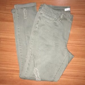 Tinseltown Light Olive Green Distressed Jeans